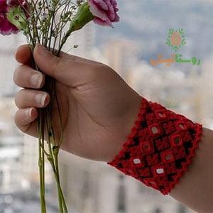 دستبند سوزندوزی هامین (قرمز)