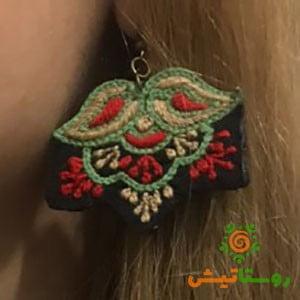 گوشواره سوزندوزی ماهکان سبز