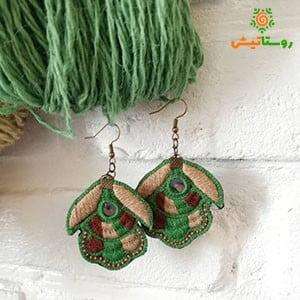 گوشواره سوزندوزی گاندو (سبز)