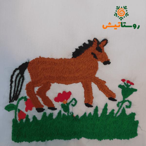 کیسه پارچه ای گلدوزی طرح اسب