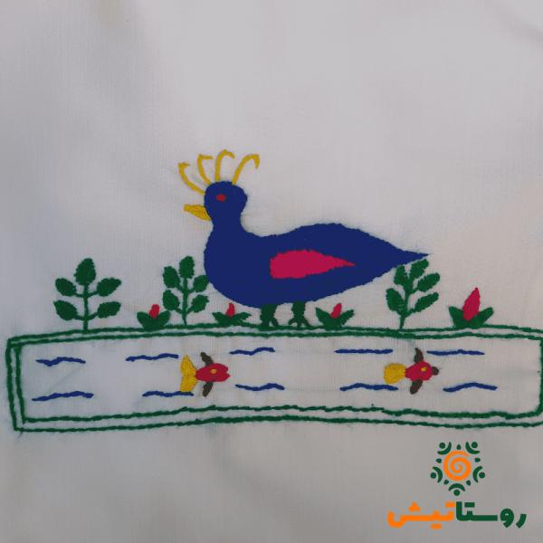 کیسه پارچه ای گلدوزی طرح مرغابی