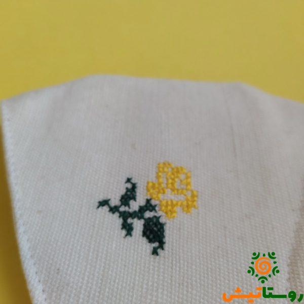 ماسک الیاف طبیعی جیب دار (طرح رز زرد)