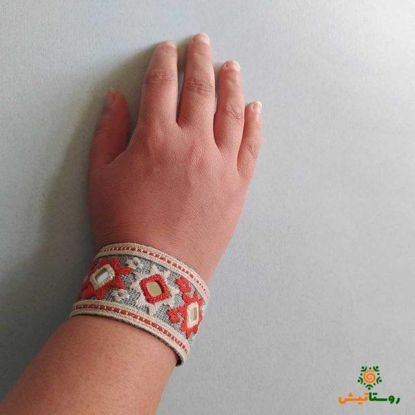 دستبند سوزندوزی کتر نارنجی