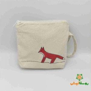 کیف الیاف طبیعی گلدوزی شده طرح روباه