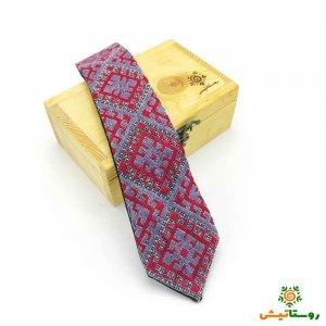 کراوات سوزندوزی زرشکی بلوچی پرکار